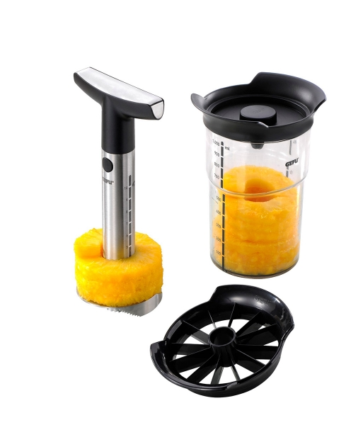 Pineapple Slicer PROFESSIONAL PLUS, incl. small piece cutter and storage container